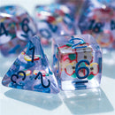 Fresh Dice: Apple Resin Filled 7-Dice Set Red/Blue
