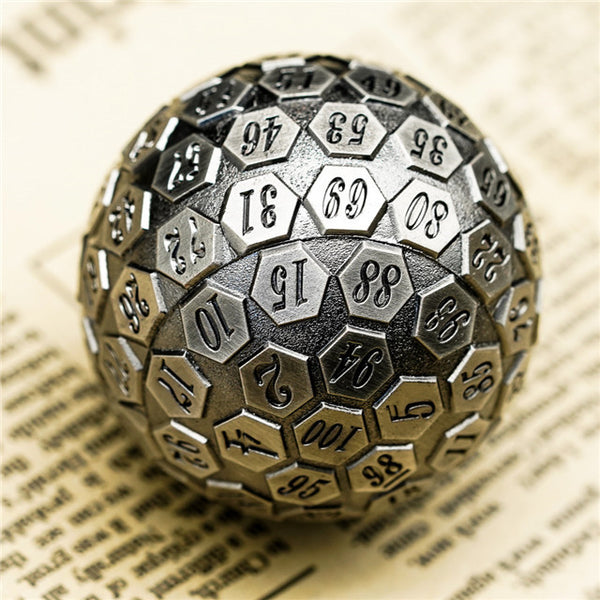 Silver Plated Ancient Metal d100 Dungeons and Dragons RPG