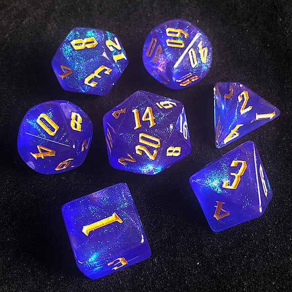 'Glitter Party' Blue Glitter Dice (Golden font)