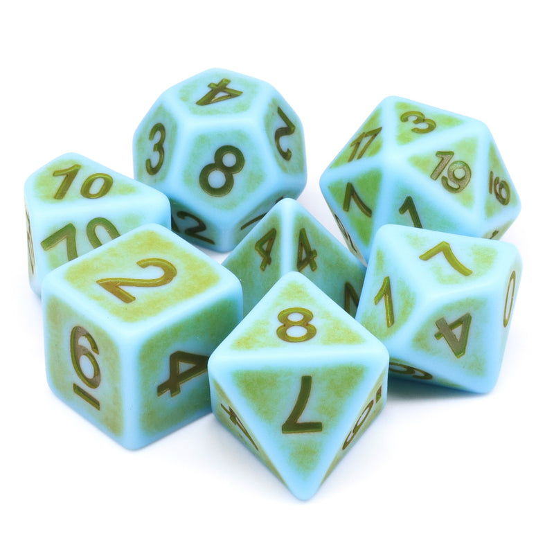 Mini-Moss Ancient 7-Dice Set Role Playing Dungeons and Dragons Dice (Green / Seafoam)