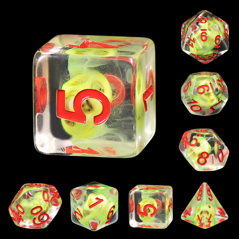 Sulfur Skull Dice Green/Red Halloween Resin 7-Dice