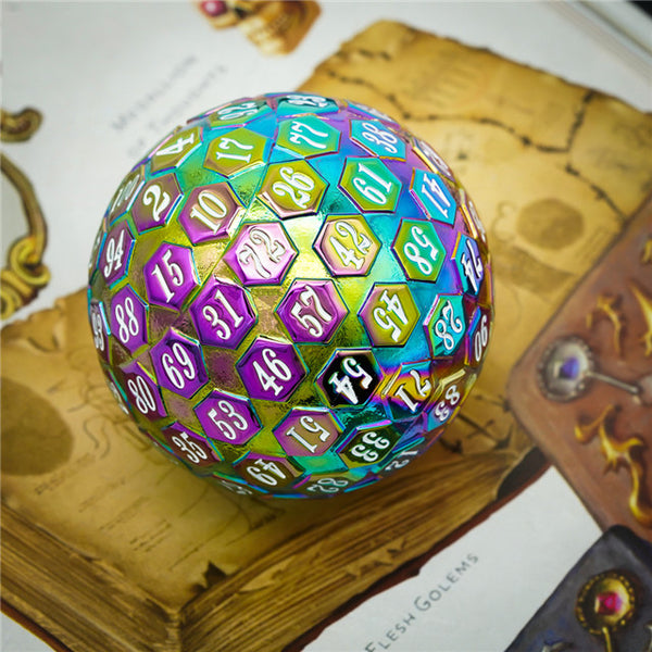 Rainbow Metal Single 100 Sided Polyhedral Dice (D100) | w/ White Color (45mm)