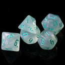 Glitter Party White Glitter Dice (Mint font) 7-Dice Set RPG DND