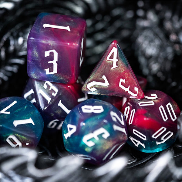 Glitter Party Red/Purple/Blue Glitter Dice (White font) 7-Dice Set (ships in 5-7 days)