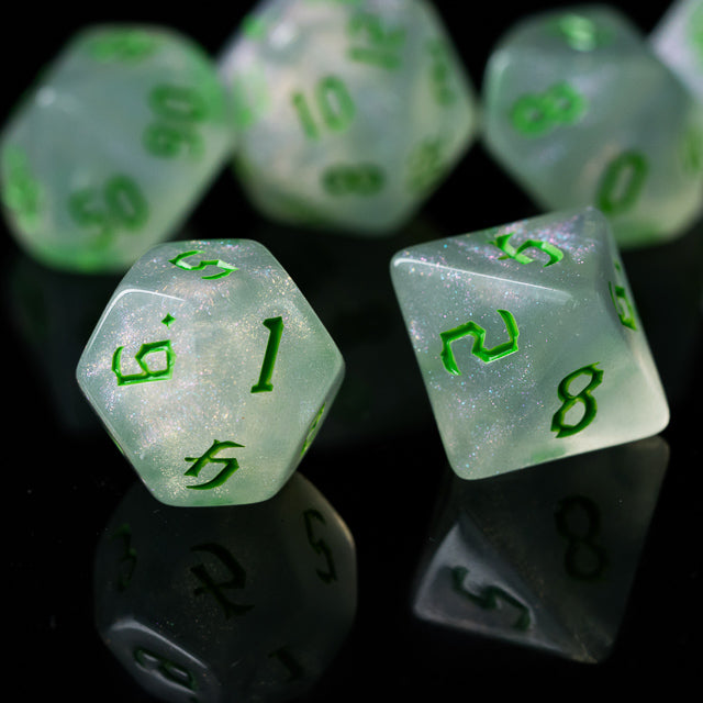 Glitter Party White Glitter Dice (Green font) 7-Dice Set RPG DND