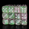 Green and Pink 16mm Glitter Pipped Dice