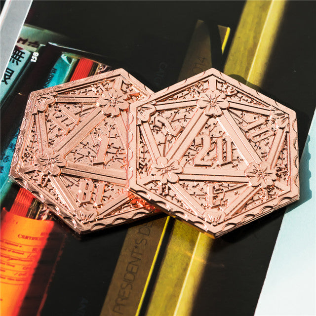 Copper d2 Coin Shaped like d20 Solid Copper Rose Gold Color