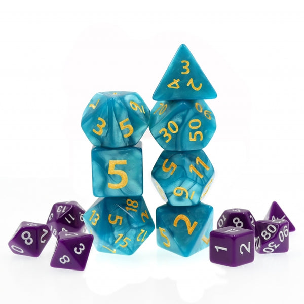 Blue Giant Pearl Dice (7) with Green Numbers RPG Role Playing Dice