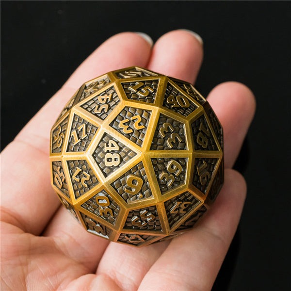 Golden Metal Single 60 Sided Polyhedral Dice (D60) Platted Ancient (40mm)