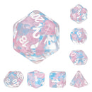 Pink Butterfly Ribbon Dice 7-Dice Set by HengDadice Dungeons and Dragons Dice