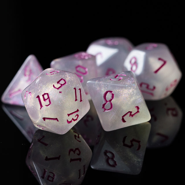 Glitter Party White Glitter Dice (Pink font) 7-Dice Set RPG DND