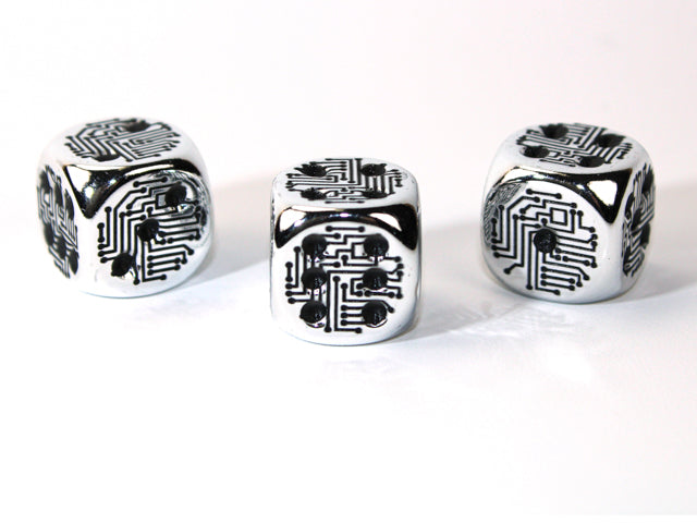 Silver Metal-Plated Over Plastic d6 Circuit Design 16mm Pipped (Price is Per Die)