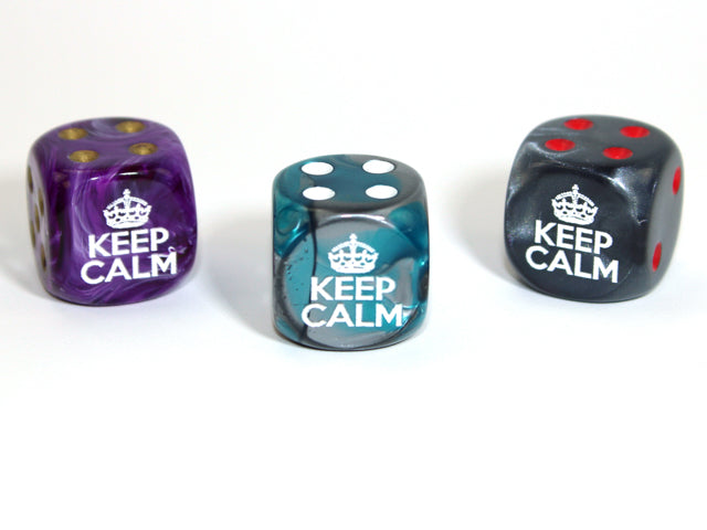 Keep calm d6 (Custom engraved) Pipped Dice [sold per die]