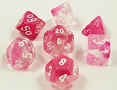 Lab Dice Gemini Polyhedral Clear-Pink Luminary (30042)