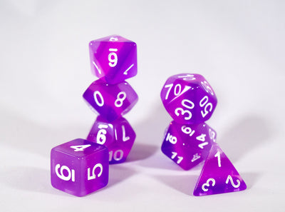 Translucent Purple Aurora Poly Dice Set Purple Violet (7) White Numbers New RPG DnD HDdice