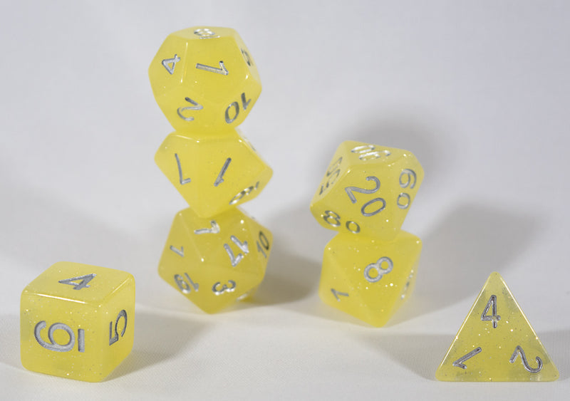 Sparkling Glitter Yellow with Silver Numbers Poly Dice Set (7) RPG DnD HDdice