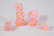 Sparkling Glitter Pink with Gold Numbers Poly Dice Set (7) RPG DnD HDdice