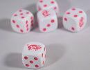 White Dice with Pink Pigs Dice Set 6 Sided Bunco RPG D6 16mm Roll Koplow