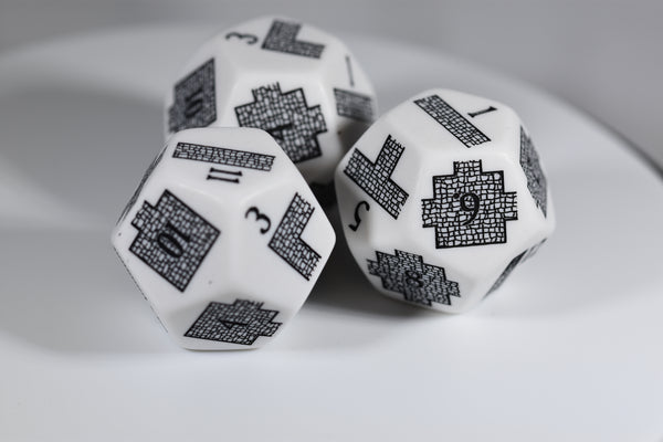 Dungeoneering d12 Opaque White (Custom engraved)