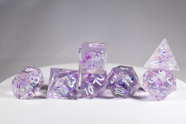 (PURPLE) Sharp Edge Resin 7-Dice Set