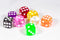 Translucent Pipped d6 Dice Red/Orange/Yellow/Green/Blue/Purple/Clear/Black/Pink