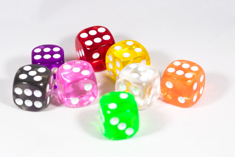 Translucent Pipped d6 Dice Red/Orange/Yellow/Green/Blue/Purple/Clear/Black/Pink 16mm