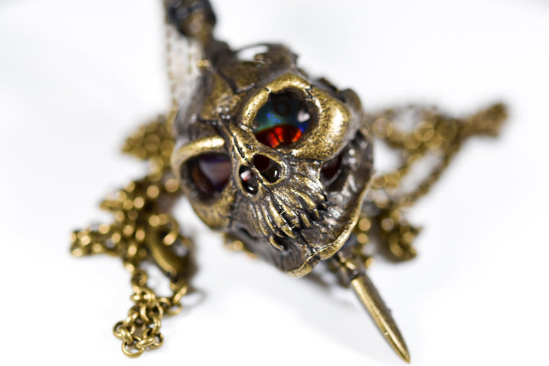 Pendant d20 Skull and Dagger w/ Old Brass Finish