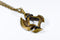 Pendant 12mm d6 Axe Blade w/ Old Brass Finish