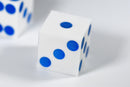 White Casino Dice w/ Blue Pips Rare 19mm Razor Edge