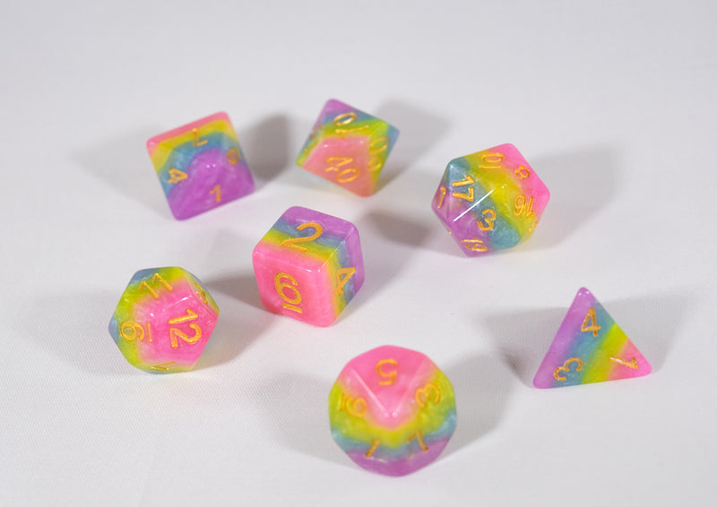 Opaque Festive Easter Purple Blue Poly Dice Set with Gold (7) RPG DnD HdDice