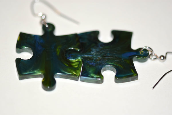 Earrings Scarab Puzzle Piece Pair (Green/Blue)
