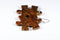 Earrings Lustrous Puzzle Piece Pair (Orange/Brown)