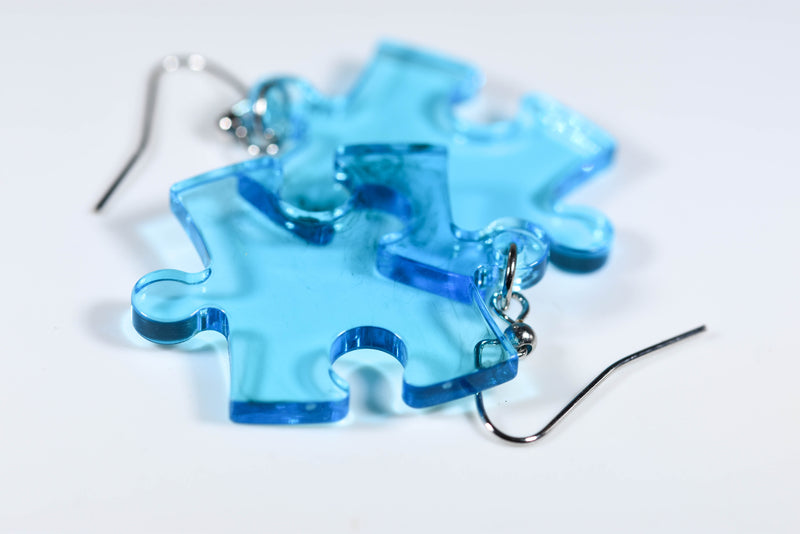 Earrings Translucent Puzzle Piece Pair (Blue) [6]