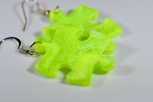 Earrings Vortex Puzzle Piece Pair (Bright Yellow) [15]