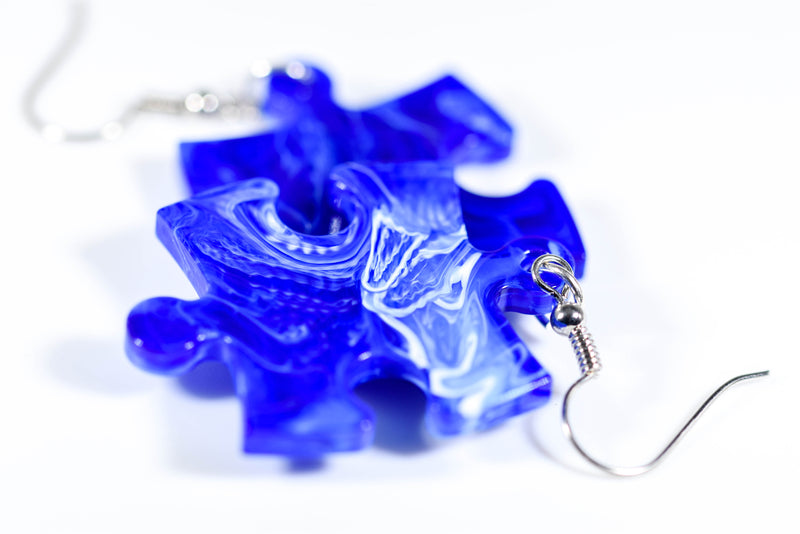 Earrings Vortex Puzzle Piece Pair (Blue) [20]