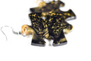 Earrings Gemini Puzzle Piece Pair (Gold/Black) [22]