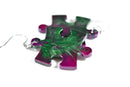 Earrings Gemini Puzzle Piece Pair (Purple/Green) [27]