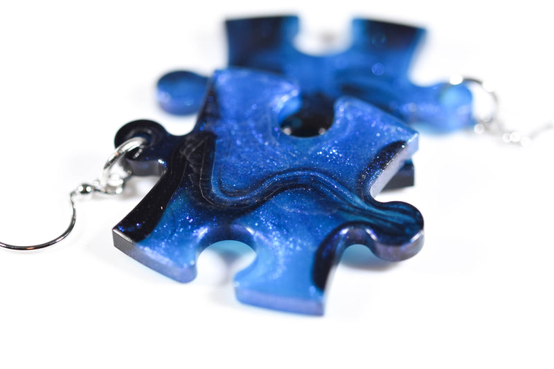 Earrings Gemini Puzzle Piece Pair (Blue/Black) [28]