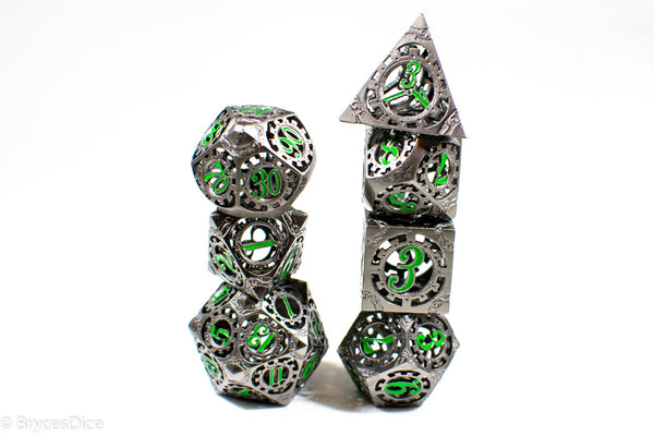 Gun Metal Hollow Gear Dice with Green Numbers 7-Dice Set