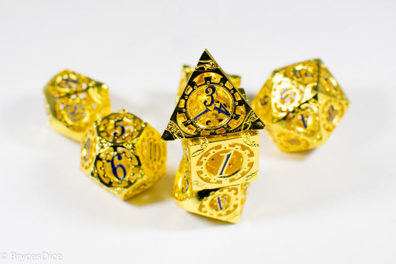 Gold Metal Hollow Gear Dice with Blue Numbers 7-Dice Set