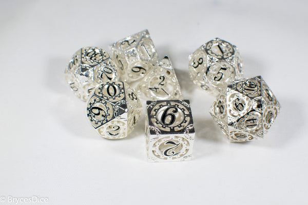 Silver Metal Hollow Gear Dice with Black Numbers 7-Dice Set