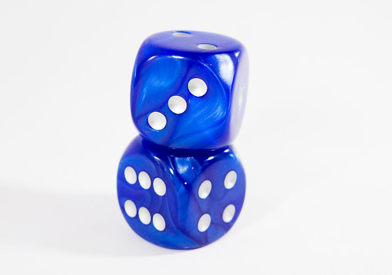 (1) OOP Rare 30mm Velvet Dark Blue Dice New RPG DnD with Silver Pips by Chessex Out of Print