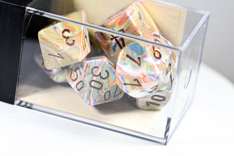 Festive Vibrant/brown Polyhedral 7-Dice Set