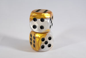 OOP Rare 30mm Gemini Gold and White Dice New RPG DnD with Black Pips by Chessex Out of Print