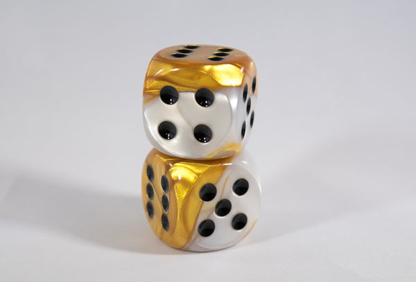 (1) OOP Rare 30mm Gemini Gold and White Dice New RPG DnD with Black Pips by Chessex Out of Print