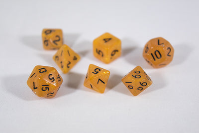 Orange Semi-Translucent Miniature Poly Dice Set Small (7) w/ Silver Glitter RPG DnD Mini Cute BrycesDice