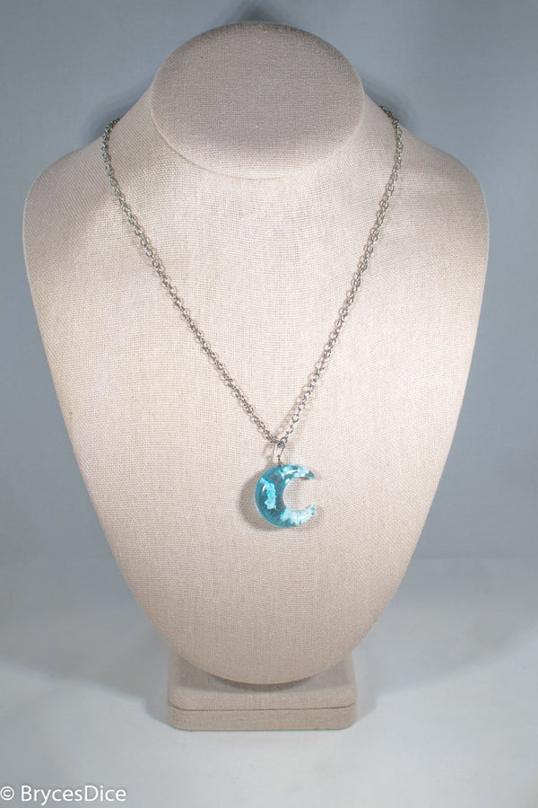 Cloudy Sky in Moon Blue Resin Sphere Necklace Pendant White Clouds