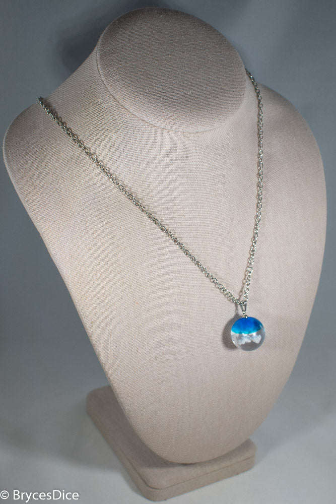 Cloudy Blue Sky Resin Sphere Necklace Pendant White Clouds