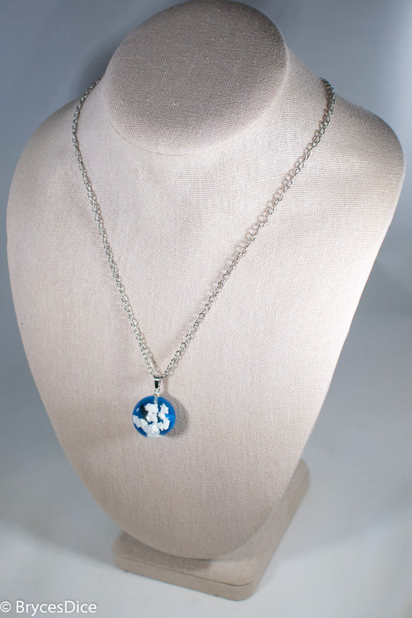 Cloudy Sky w/Bird & Blue Resin Sphere Necklace Pendant White Clouds