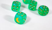 Custom Crescent Moon Sparkle Light Green Borealis Chessex Magic Rare by BrycesDice